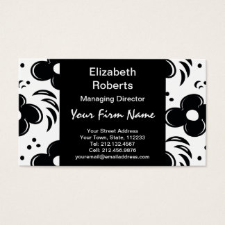 Modern Retro Chic 1960s Floral Pattern Business Card