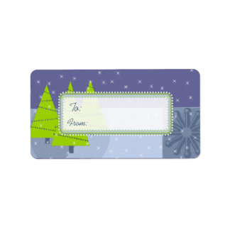 Modern Retro Christmas Tree Gift Tags