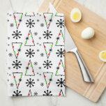Modern Retro Christmas Tree Snowflake Towel