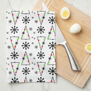 Modern Retro Christmas Tree Snowflake Towel at Zazzle