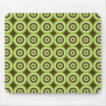 Modern Retro Circles Green & Brown Mousepad