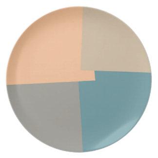 Modern Retro Color Geometric Pattern #11 Melamine Plate