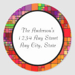 Modern Retro Colorful Abstract Round Stickers