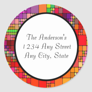 Modern Retro Colorful Abstract Classic Round Sticker