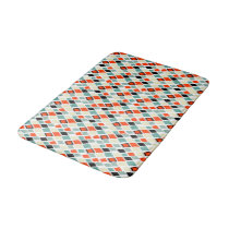 modern retro colorful diamonds geometric pattern bath mat