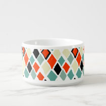 modern retro colorful diamonds geometric pattern bowl