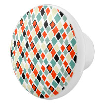 modern retro colorful diamonds geometric pattern ceramic knob