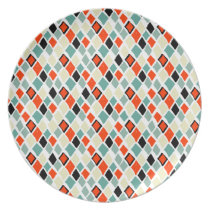 modern retro colorful diamonds geometric pattern dinner plate