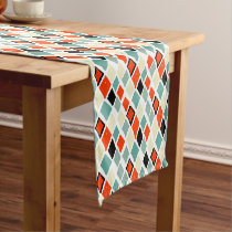 modern retro colorful diamonds geometric pattern short table runner