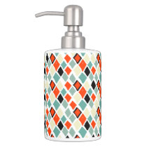 modern retro colorful diamonds geometric pattern soap dispenser and toothbrush holder