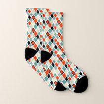 modern retro colorful diamonds geometric pattern socks