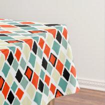 modern retro colorful diamonds geometric pattern tablecloth