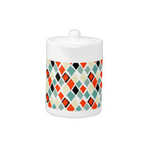 modern retro colorful diamonds geometric pattern teapot