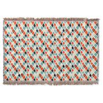modern retro colorful diamonds geometric pattern throw blanket