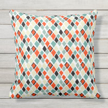 modern retro colorful diamonds geometric pattern throw pillow