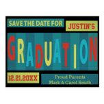 Modern Retro Colorful Graduation Save The Date Postcard