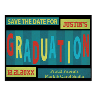 Modern Retro Colorful Graduation Save The Date Postcard