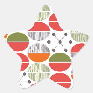 Modern Retro Geometric Polka Dots Star Sticker