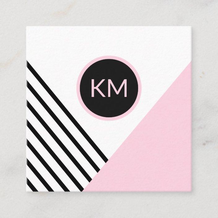 Modern Retro Geometric Pop Art With Monogram Logo Square Business Card Zazzle Com