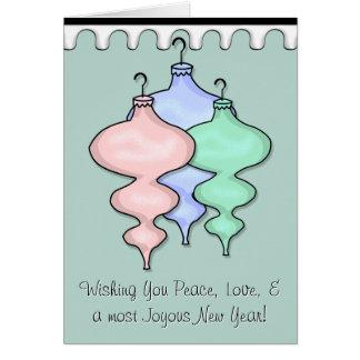 Modern Retro Glass Ornaments - Personalized Card