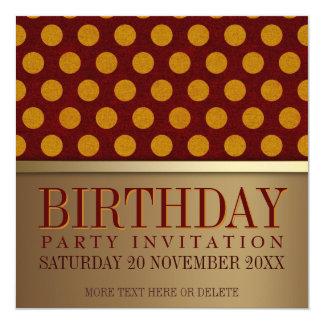 """Modern Retro Gold Birthday Party Invitation Cards 5.25"""" Square Invitation Card"""