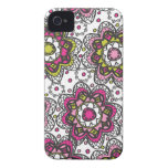 Modern Retro Henna Look Flowers Case-Mate iPhone 4 Cases
