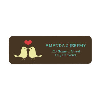 Modern Retro Lovebirds Wedding Label