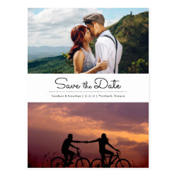 Modern Retro Minimalist Two Photo Save the Date