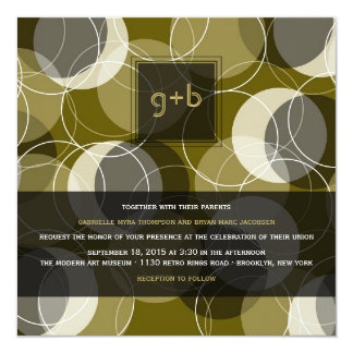 "Modern Retro Mod Art Rings Yellow Wedding Invite 5.25"" Square Invitation Card"