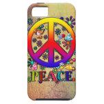 Modern Retro Peace Sign Text Birds & Flowers iPhone 5 Case