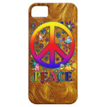 Modern Retro Peace Sign Text Birds & Flowers iPhone 5 Case