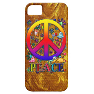 Modern Retro Peace Sign Text Birds & Flowers iPhone 5 Cover