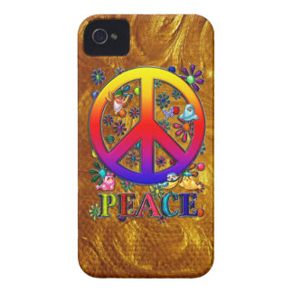 Modern Retro Peace Sign Text Birds & Flowers Case-Mate iPhone 4 Cases