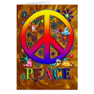 Modern Retro Peace Sign Text Birds & Flowers II Card