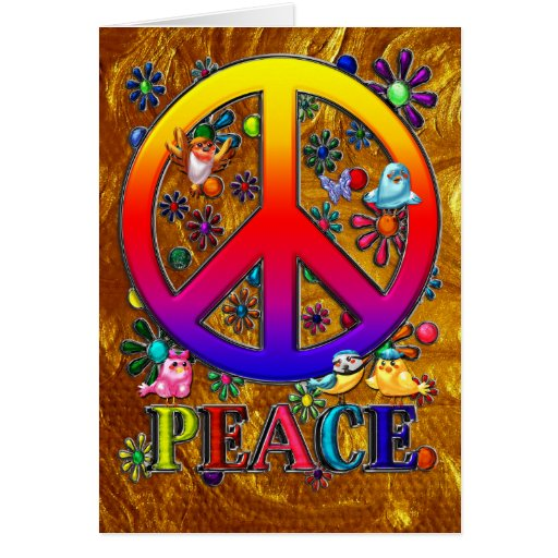 Modern Retro Peace Sign Text Birds & Flowers II Greeting Cards