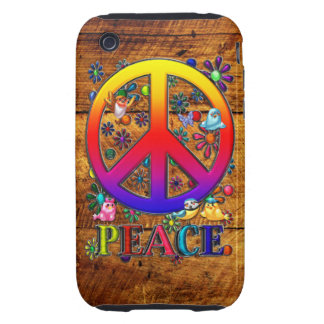 Modern Retro Peace Sign Text Birds & Flowers II Tough iPhone 3 Cover
