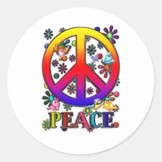 Modern Retro Peace Sign Text Birds & Flowers II Classic Round Sticker