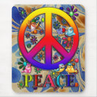 Modern Retro Peace Sign Text Birds & Flowers II Mouse Pad