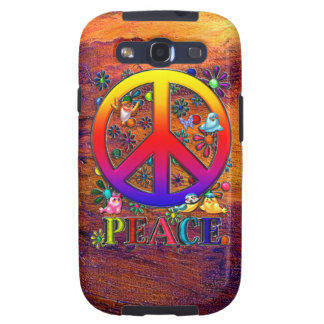 Modern Retro Peace Sign Text Birds & Flowers II Samsung Galaxy SIII Cover