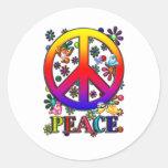 Modern Retro Peace Sign Text Birds & Flowers II Round Stickers