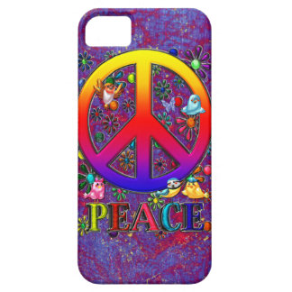 Modern Retro Peace Sign Text Birds & Flowers iPhone SE/5/5s Case