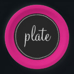 "Modern Retro Personalized Custom Hot Pink Paper Plate<br><div class=""desc"">This is a beautiful personalized item that makes the perfect gift.</div>"