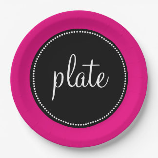 Modern Retro Personalized Custom Hot Pink Paper Plate