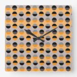 Modern Retro Polka Dots Orange Black Chic Stripes Square Wall Clock