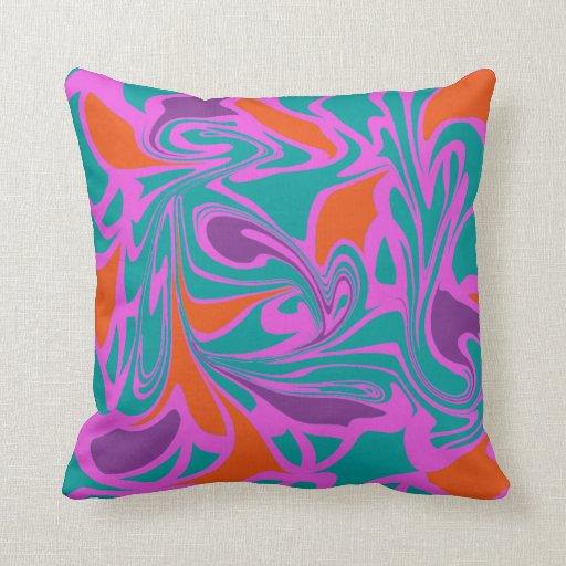Modern Retro Purple Pink Orange Teal Throw Pillow Zazzle