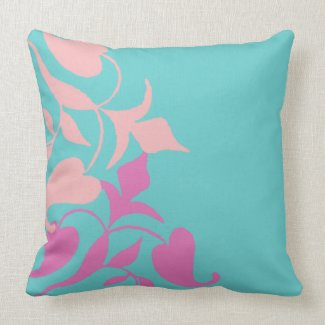 Modern Retro Purple Pink Vine on Teal Throw Pillow