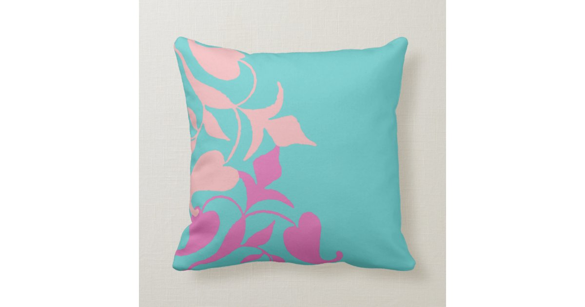 Modern Retro Purple Pink Vine on Teal Throw Pillow Zazzle.com