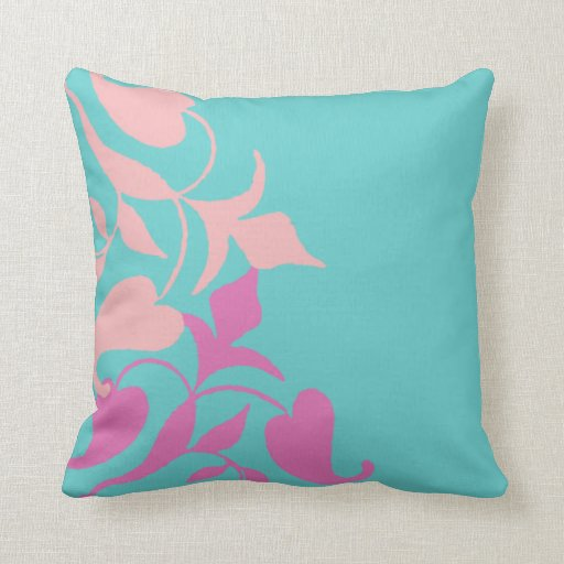 Modern Retro Purple Pink Vine On Teal Throw Pillow Zazzle