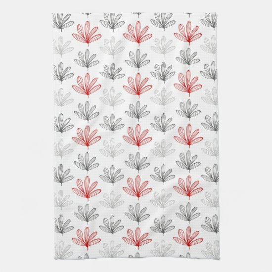 Modern Retro Red and Gray Floral Kitchen Towel