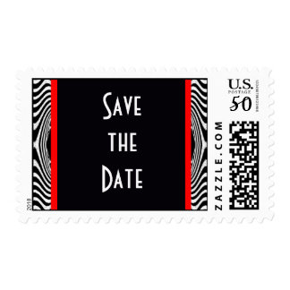 Modern Retro Save the Date Bride and Groom Stripes Postage